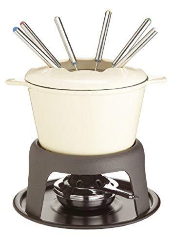 Kitchen Craft MasterClass Fleisch-/Käse-/Schokoladen-Fondue-Set aus Gusseisen, mit Sechs Edelstahlgabeln, 21 x 18 cm – Beige