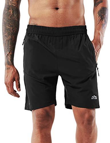 YAWHO Herren Sporthose Kurz Hose Laufshorts Trainingsshorts Schnelltrocknend mit Reißverschlusstasche/Jogging Hose für Workout,Laufsport,Fitness (Black, 2XL)