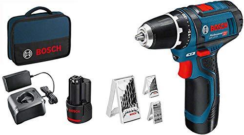 Bosch Professional 12V System Akkuschrauber GSR 12V-15 (2x 2,0 Akku, 39tlg.-Zubehör-Set, SchraubenØ max: 7mm, in Tasche)