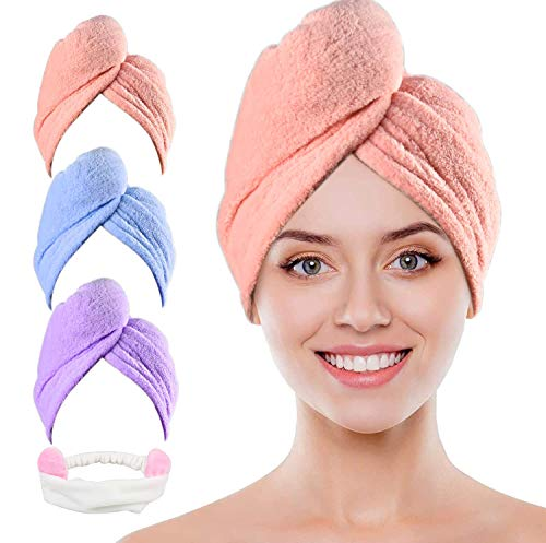3 Stück Haarturban, Turban Handtuch mit Knopf, Schnelltrocknend Haar Handtuch, Mikrofaser Haarturban Kopfhandtuch für Alle Haartypen (Pink, Blau, Lila)
