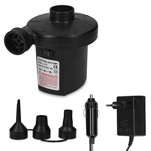 Navaris elektrische Luftpumpe mit 3X Adapter - 12x10x8cm - mit 12V und 230V Netzteil - Luftmatratze Pumpe Kompressor - Mini Druckluftpumpe elektrisch