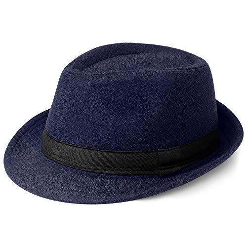 Coucoland Panama Hut Mafia Gangster Herren Fedora Trilby Bogart Hut Herren 1920s Gatsby Kostüm Accessoires (Filz Dunkelblau)