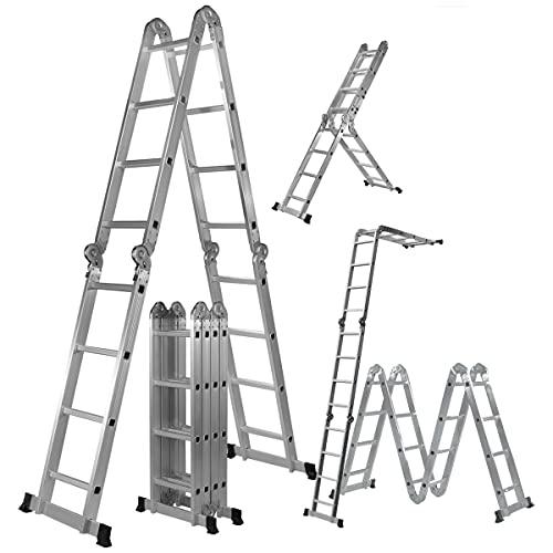 𝐂𝐑𝐀𝐅𝐓𝐅𝐔𝐋𝐋 Aluminium Multifunktionsleiter CF-104A - 𝟑 𝐉𝐀𝐇𝐑𝐄 𝐆𝐀𝐑𝐀𝐍𝐓𝐈𝐄 - 6 in 1-16 Sprossen - 475cm Gesamtlänge - Gelenkleiter - Vielzweckleiter - Leitergerüst (Silber)