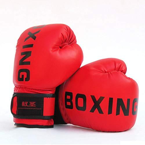 Muay Thai PU-Leder Boxhandschuhe Damen Herren MMA Fitnesstraining Grant-Boxhandschuhe Sanda Taekwondo Hand Protect Zzib (Color : Children Red)