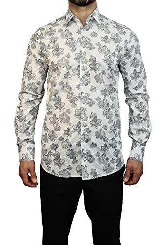 Karl Lagerfeld 605003-511651 Slim Fit Hemd für Herren mit Blumenmuster, Weiß/Grau, Mehrfarbig XL