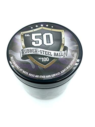SSR 100 x S-Style Premium Quality Hard Mix Rubber Steel Balls 2.7 gr. Heavy Rubber Balls Paintballs Reballs Powerballs for Shooting Training Home Self Defense Pistols in 50 Cal.