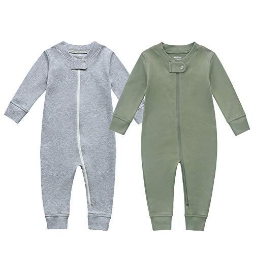 Owlivia Baby Schlafstrampler aus Bio Baumwolle, für Mädchen und Jungen, Langarm (Grün & Grau, 18-24 Monate)