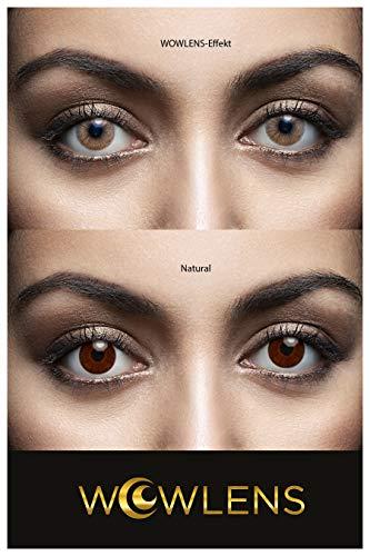 WOWLENS Sehr stark deckende und natürliche braune Kontaktlinsen farbig DUBAI BROWN + Behälter I 1 Paar (2 Stück) I DIA 14.00 I 0.00 Dioptrien I ohne Stärke