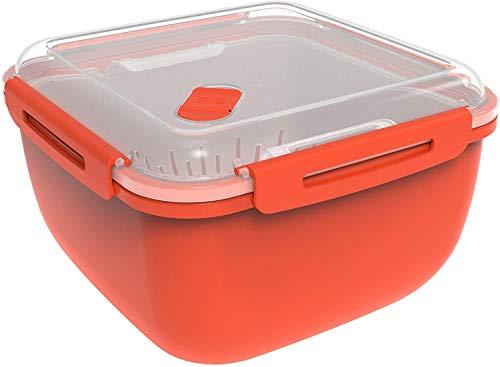 Rotho Memory Microwave Dampfgarer 2,5l mit Siebeinsatz für Mikrowelle und Steamer, Kunststoff (PP) BPA-frei, rot/transparent, 2,5l (19,5 x 19,5 x 12,1 cm)