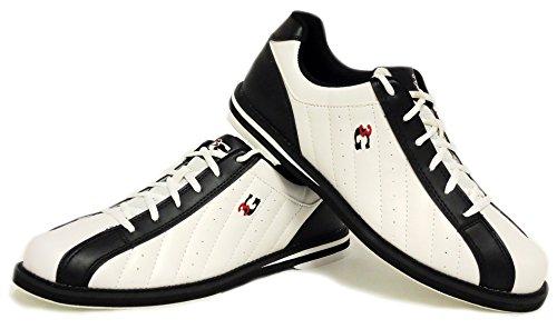Bowling-Schuhe, 3G Kicks, Damen und Herren, für Rechts- und Linkshänder in 7 Farben Schuhgröße 36-48 (weiß-schwarz, 42.5 (US 10))
