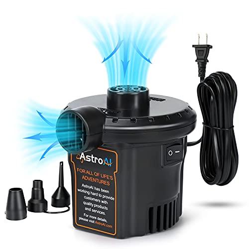 AstroAI Elektrische Luftpumpe Pumpe für Luftmatratze Tragbar Inflator-Deflatorpumpen mit 3 Düsen für aufblasbare Kissen Luftbetten Schwimmring Pool Spielzeugfloß für zu Hause & Yard 220V AC 130W