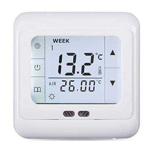 FLOUREON digital Thermostat 3A Raumthermostat programmierbar Raumtemperaturregler für Fussbodenheizung Wasser Heizung Wandheizung Wandthermostat mit LED Touchscreen Weiß