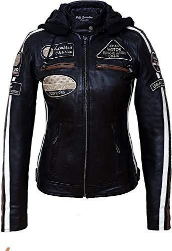 Urban Leather Damen Ur-159 damen motorradjacke mit protektoren, Schwarz, 5XL