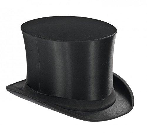 shoperama Klappbarer Zylinder Schwarz für Damen und Herren Gr. 58/59 Chapeau Claque Klappzylinder Hut