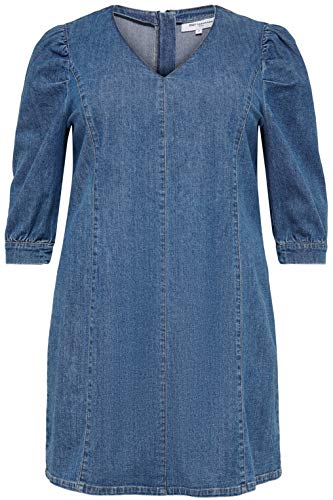 ONLY Carmakoma Damen CARLURSA Life 3/4 DNM Tunic Dress Kleid, Medium Blue Denim, 48 Größen