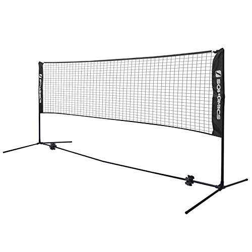 SONGMICS 5 m Badmintonnetz, Tennisnetz, höhenverstellbar, Set bestehend aus Netz, stabilem Eisen-Gestell und Transporttasche SYQ500HV1