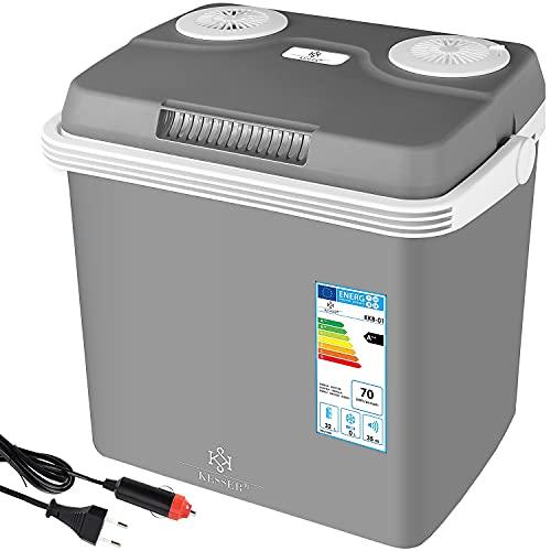 KESSER® 32 Liter Kühlbox | KÜHLT und WÄRMT | Thermo-Elektrische Kühlbox 12 Volt und 230 Volt | Mini-Kühlschrank | für Auto und Camping | EEK A++ | Grau |
