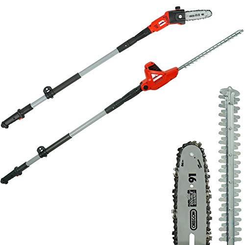 Grizzly Tools Elektro-Multigerät KSHS 710 2in1 - Teleskop Hochentaster und Heckenschere - wechselbarer Schneidkopf