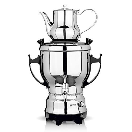 BEEM SAMOWAR 2030-3 l   Teekocher elektrisch   2.200 W   Edelstahl   3 l Wasserbehälter   1 l Teekanne   Privat, Hotel & Gastro geeignet