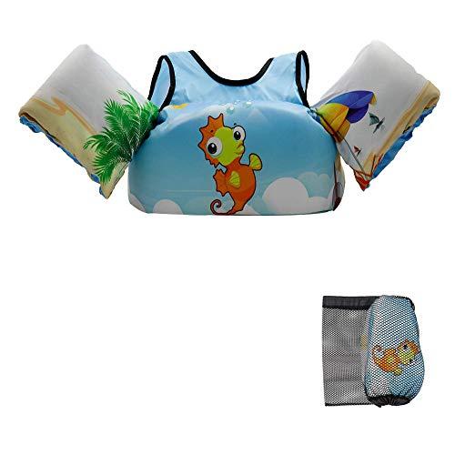 VIEKUU Schwimmflügel mit Schultergurt für Kinder von 2-6 Jahre 15-25kg Schwimmflügel für Kleinkinder Schwimmen zu Lernen Schwimmflügel für Jungen und Mädchen, (Orange Seepferdchen)
