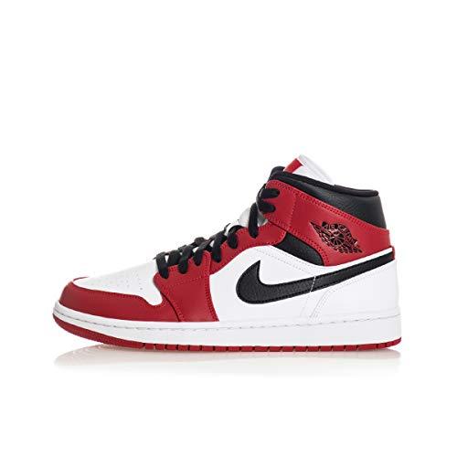 Nike AIR Jordan 1 MID (GS) Basketballschuh, White Gym Red Black, 38.5 EU