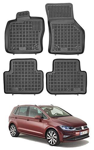 Rezaw Plast Hohe Gummi Fußmatten mit Rand, Gummimatten von EN Autoparts kompatibel für VW Golf VII Sportsvan von 2014