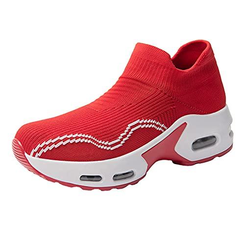 CYGGA Damen Leicht Gittergewebe Luftkissen Plattform Turnschuhe Atmungsaktiv Weich Sportschuhe Lässig Schuhe Laufschuhe Straßenlaufschuhe Sneaker Einfarbig Sport Running Walkingschuhe mit Streifen