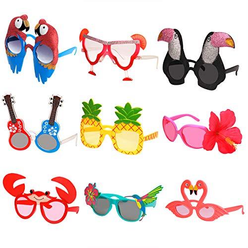 Ocean Line Luau Party Sonnenbrille - 9 Paar lustige hawaiianische Brille, Tropische Kostümbevorzugungen, lustige Sommerparty Photo Booth Requisiten, Neuheit Partyzubehör Dekoration