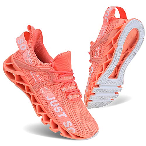 Damen Laufschuhe Walking Athletic für Frauen Casual Slip Fashion Sports Outdoor-Schuhe, Orange, 39 EU