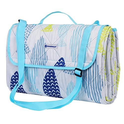 SONGMICS Waschbare Picknickdecke für Outdoor, faltbar zu Tasche mit Schultergurt, leichte Campingdecke, ideal für Reise, wärmeisoliert 195 x 150 cm GCM80UW