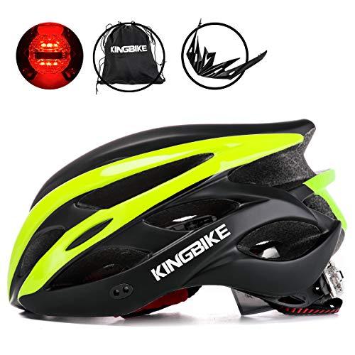 KING BIKE Fahrradhelm Helm Bike Fahrrad Radhelm mit LED Licht FüR Herren Damen Helmet Auf Die Helme Sportartikel Fahrradhelme GmbH RennräDer Mountain Schale Mountainbike MTB(XL(59-62CM)