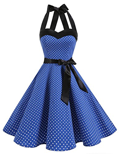 DRESSTELLS Rockabilly Brautkleid Damen Neckholder 1950er Vintage Retro Cocktailkleid Petticoat Faltenrock Royal Blue Small White Dot L