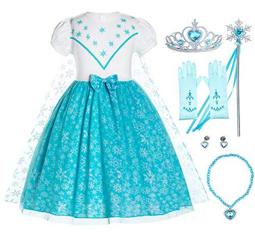 Prinzessin Aschenputtel, Schnee, Rapunzel, Meerjungfrau, Elsa Anna Kostüm Kleid für Kleinkinder Mädchen Gr. 92, Elsa 43 With Accessories