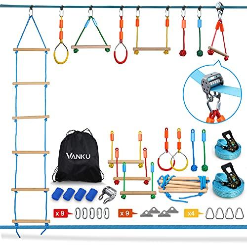 Vanku Ninja Line Slackline Set für Kinder 15 Meter mit Kletterleiter, Kletterstangen, Turnringen, Seilknoten