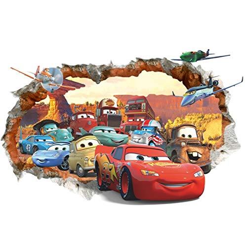 Kibi Wandaufkleber Cars, Wandsticker Cars Disney Cartoon, Gebrochene Wand Wandtattoo Cars Kinderzimmer, Wohnzimmer, Schlafzimmer, Dekoration, Abnehmbare Aufkleber Wall stickers