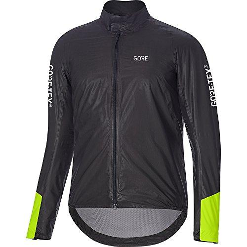GORE Wear Wasserdichte Herren Rennrad-Jacke, C5 GORE-TEX SHAKEDRY 1985 Insulated Viz Jacket, L, Schwarz/Neon-Gelb, 100418