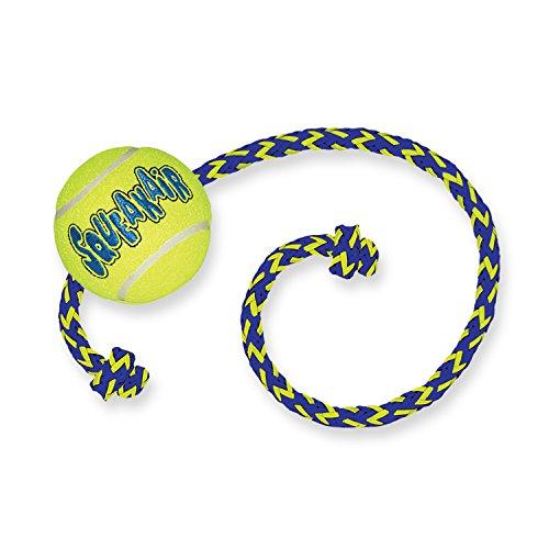KONG – Squeakair Ball with Rope – Zahnschonende Quietsch - Tennisbälle – Für Mittelgroße Hunde