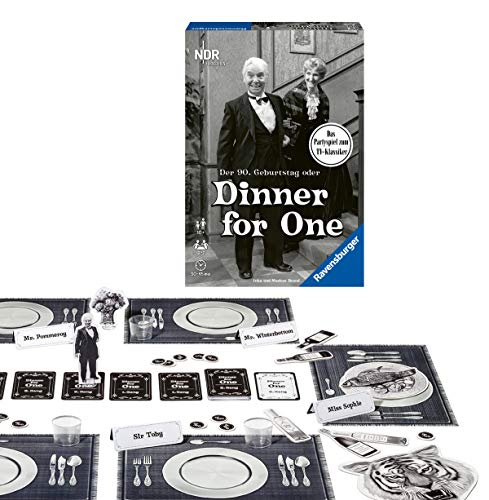 Ravensburger Partyspiel - 26835 - Der 90. Geburtstag oder Dinner for One - Gesellschaftsspiel für Erwachsene und Kinder ab 10 Jahren, Spiel zum Film-Klassiker