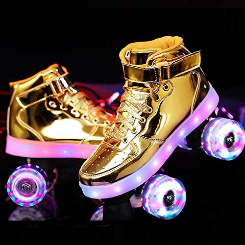 HHMGYH Rollschuhe Damen, Rollerskates Mädchen Roller Skates mit LED-Licht Double Line Skates 4 Wheels Two Line Skating Schuhe für Erwachsene,Gold,34