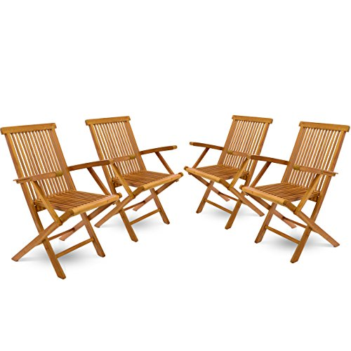 DIVERO 4er-Set Klappstuhl Teakstuhl Gartenstuhl Teak Holz Stuhl mit Armlehne für Terrasse Balkon Wintergarten witterungsbeständig behandelt massiv klappbar natur