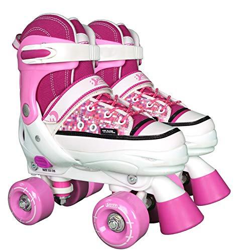 Best Sporting Rollschuhe, Größe verstellbar, ABEC 7 Carbon, pink-weiß, Farbe:pink/weiß, Größe:36-39