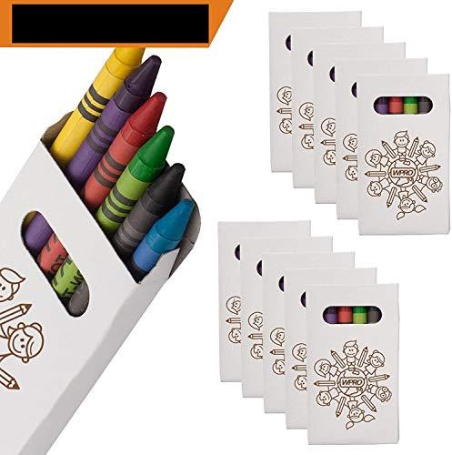 WPRO Kids Wachsmalstifte 10-er Set | Gastgeschenk Kindergeburtstag Mitgebsel | Crayons in 6 Farben | Stifte für Jungen & Mädchen weiß