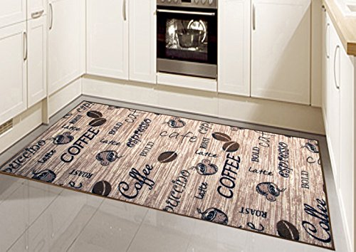 Teppich Modern Flachgewebe Gel Läufer Küchenteppich Küchenläufer Braun Beige Schwarz mit Schriftzug Coffee Cappuccino Espresso Latte Größe 80 x 250 cm