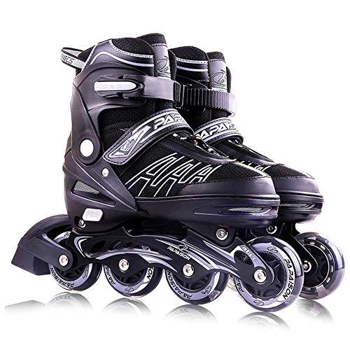 Inline Skates Für Kinder Und Erwachsene, Vierstufig Verstellbare Schuhgröße, Dreifacher Sicherheitsschutz, PU-Gummiräder, ABEC-7-Lager für Erwachsene Anfänger mädchen Jungen-schwarz L