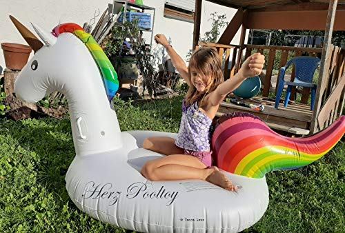 HPT Niedliches aufblasbares Einhorn / Giant Inflatable Unicorn / 180x100x90cm Luftmatratze / Schwimminsel Strand Pool Fun