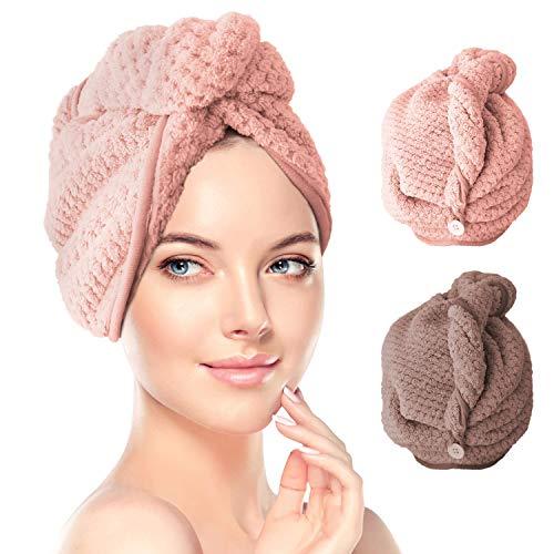 Haarturban, RenFox 2 Stück Turban Handtuch mit Knopf, Microfaser Handtuch für die Haare Schnelltrocknend, Haartrockentuch Saugfähig Super Absorbent, Haar Trocknendes Tuch für Alle Haartypen