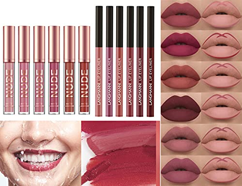 6 Pcs Liquid Lipstick Lippenstift 6 Pcs Lipliner Matt Set Wasserfest Beauty Make Up Lipgloss Liptints For Women Lip Pencil Red Lifter Gloss Lip Gloss