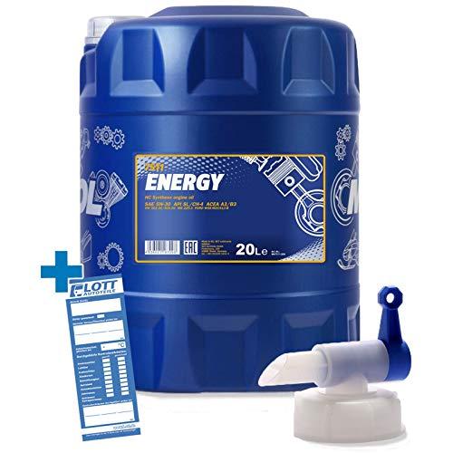 MANNOL 20L Energy 5W-30 Motorenöl API/SL 5W30 ÖL Motoröl + Auslaufhahn