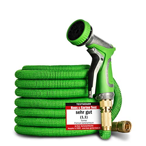 DUNLOP Gartenschlauch flexibel dehnbarer TESTSIEGER - Verschleißfreie Messinganschlüsse und Metallbrause I dehnbarer Gartenschlauch 3/4 Zoll Anschluss flexibler Wasserschlauch flexi (30 Meter)