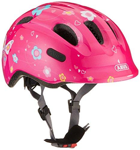 ABUS Smiley 2.0 Kinderhelm - Robuster Fahrradhelm für Mädchen und Jungs - Pink mit Schmetterlingsmuster, Größe M